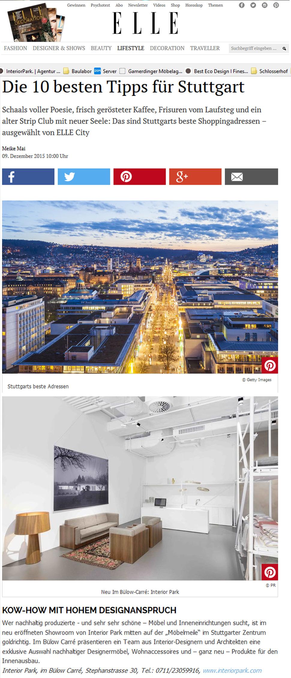 Elle empfiehlt InteriorPark. Store Stuttgart