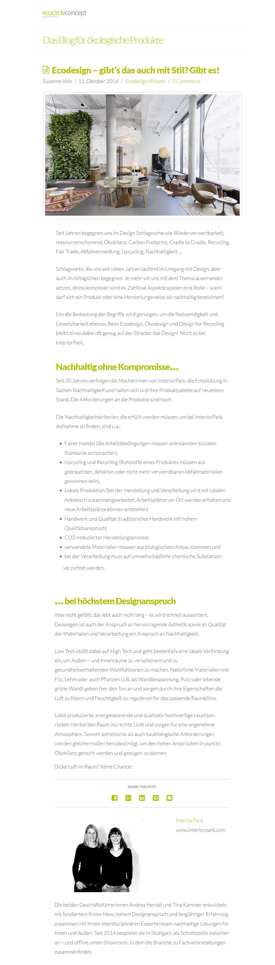 ecocircle Blogartikel über InterioPark.