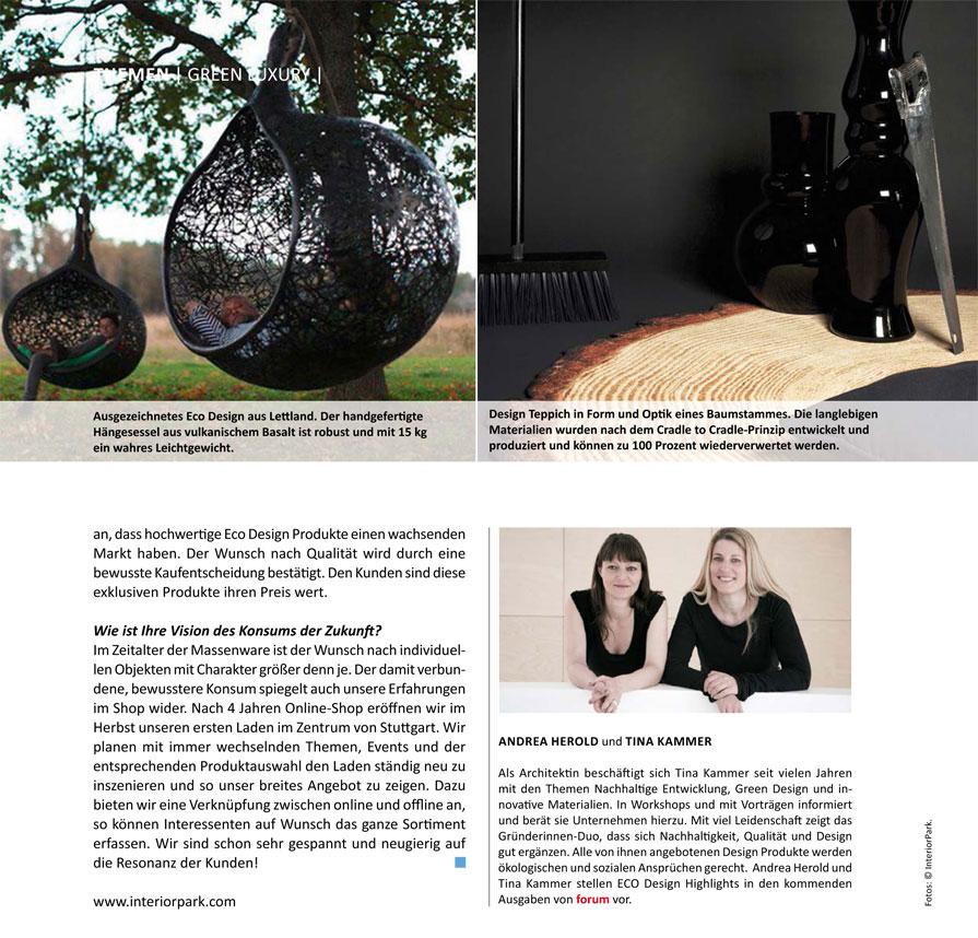 Interview von InteriorPark. für forum Magazin