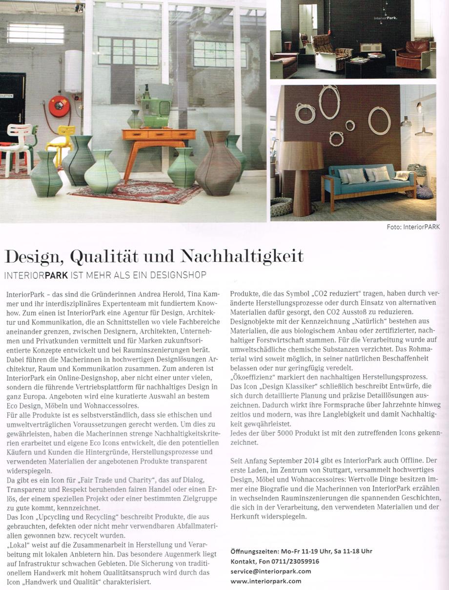 Karl Stadtmagazin empfiehlt InteriorPark. Store Stuttgart