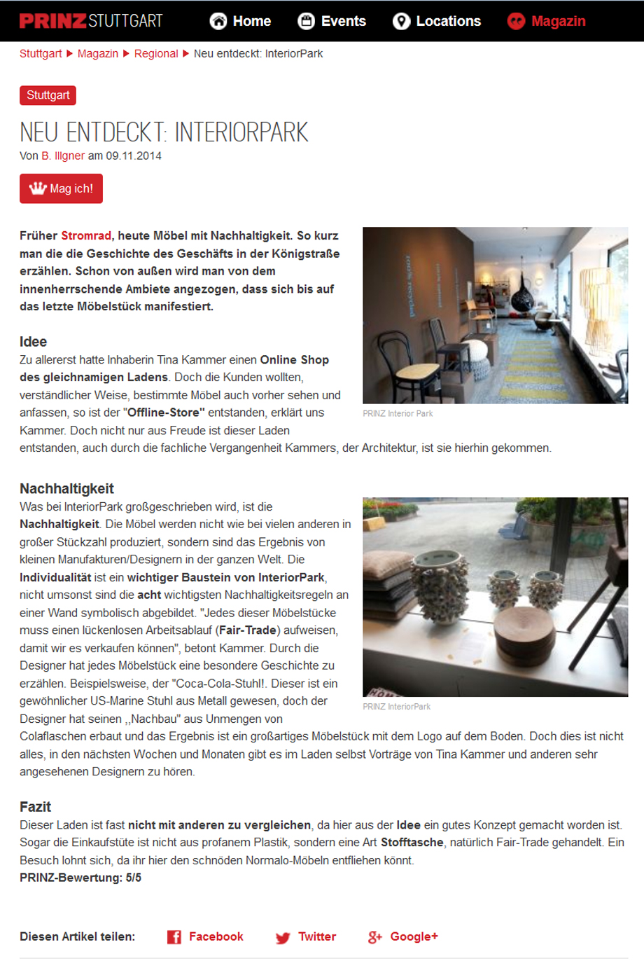 Prinz Stuttgart empfiehlt InteriorPark.Store Stuttgart