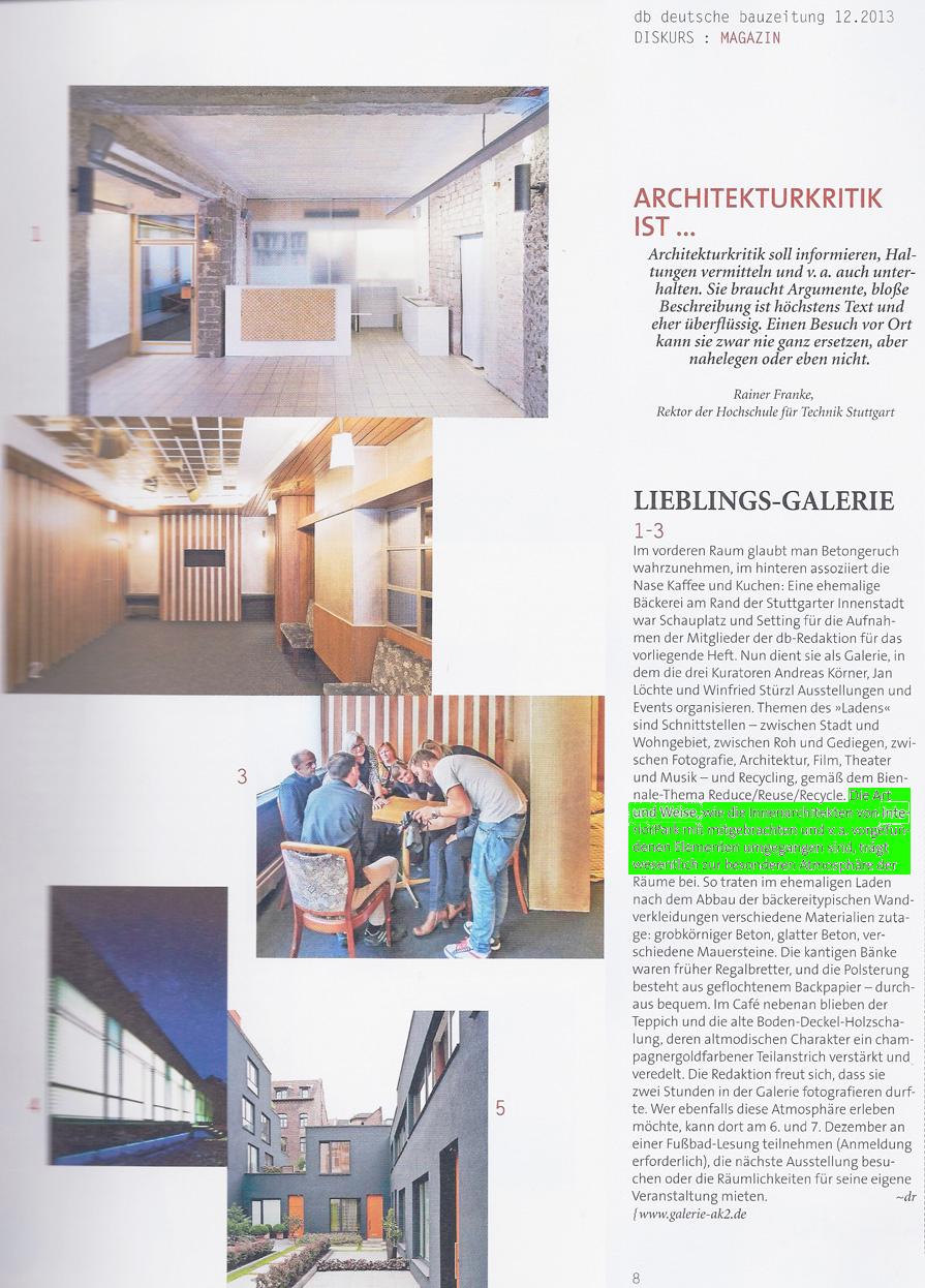 Deutsche Bauzeitung über InteriorPark. Projekt